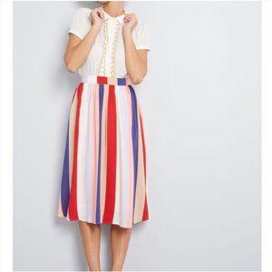 ModCloth Match Made Midi Striped Skirt SMALL